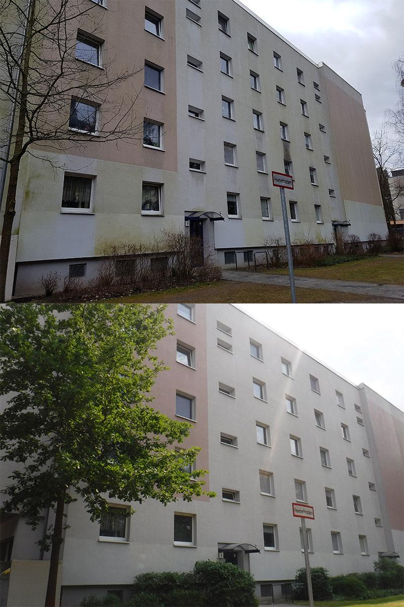 wardawas_potsdam_vorher_nachher_Fassadenreinigung_Wohnhaus_Plattenbau