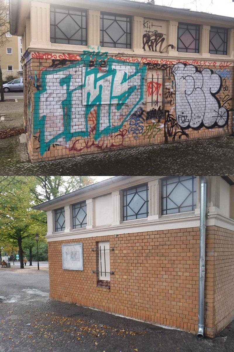 wardawas_potsdam_vorher_nachher_Grafittientfernung_Backsteinwand_Toilettenhaus_Bassinplatz_Potsdam