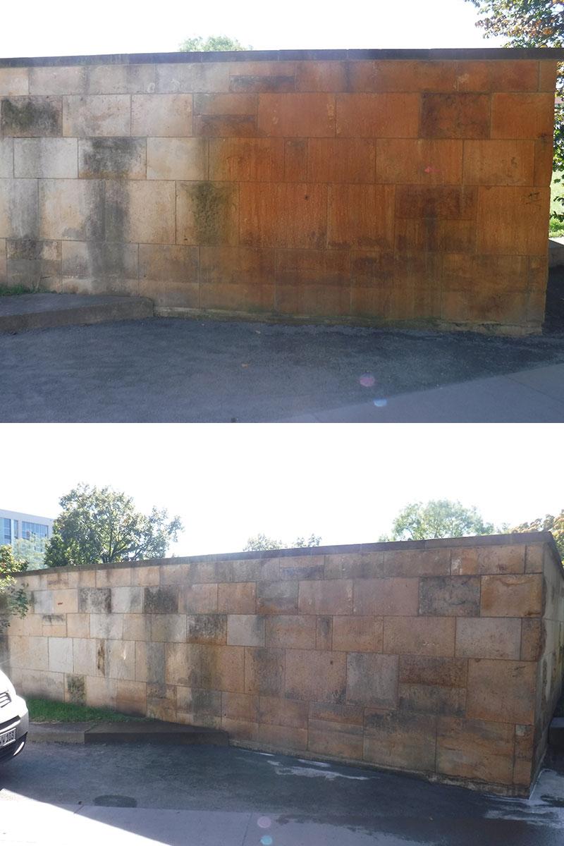 Vorher-/Nachher-Bild Spezialrinigung eines Denkmals durch die Firma WARDAWAS Potsdam