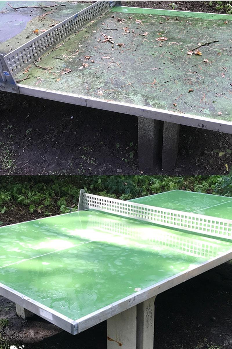 Spezialreinigung von Tischtennisplatten durch die Firma WARDAWAS (vorher / nachher)